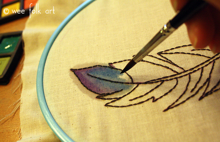 Painting the Watercolor Feather Embroidery Pattern