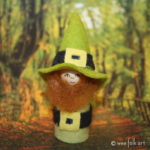 Gnome Leprechaun Peg Doll With Roving Hair