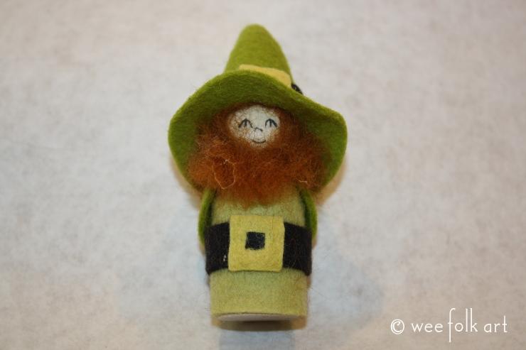 Gnome Leprechaun Peg Doll With Roving Hair Wee Folk Art