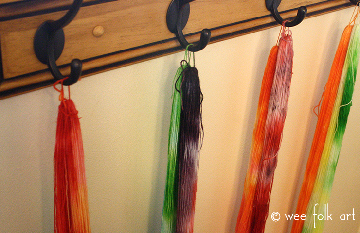 Kool-Aid Dye Yarn Hang to Dry