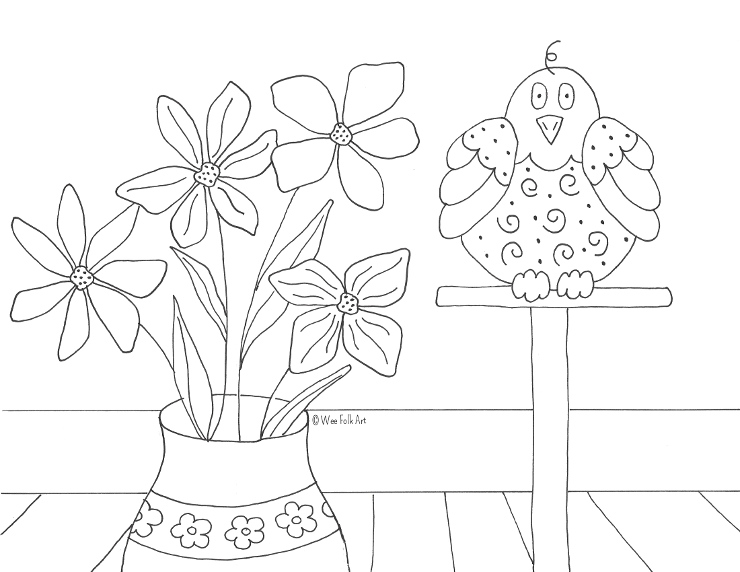 Folk Art Bird Coloring Page