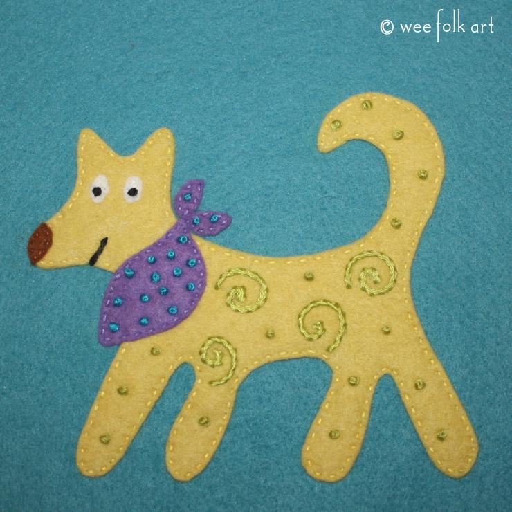 folk art dog applique