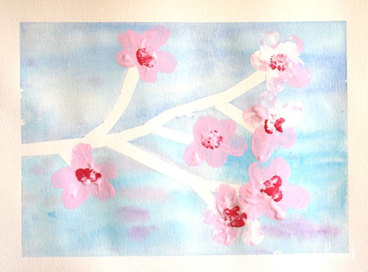 Kids' Crafts :: Cherry Blossom Watercolor Painting