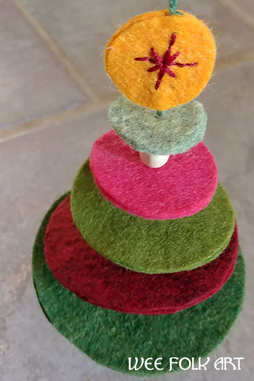 stacked Wool Felt Christmas Tree Ornament directions