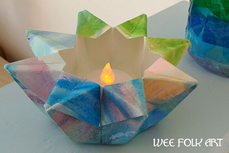Watercolor Folded Paper Star Lantern Tutorial