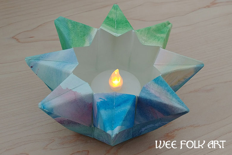 Watercolor Folded Paper Star Lantern Directions