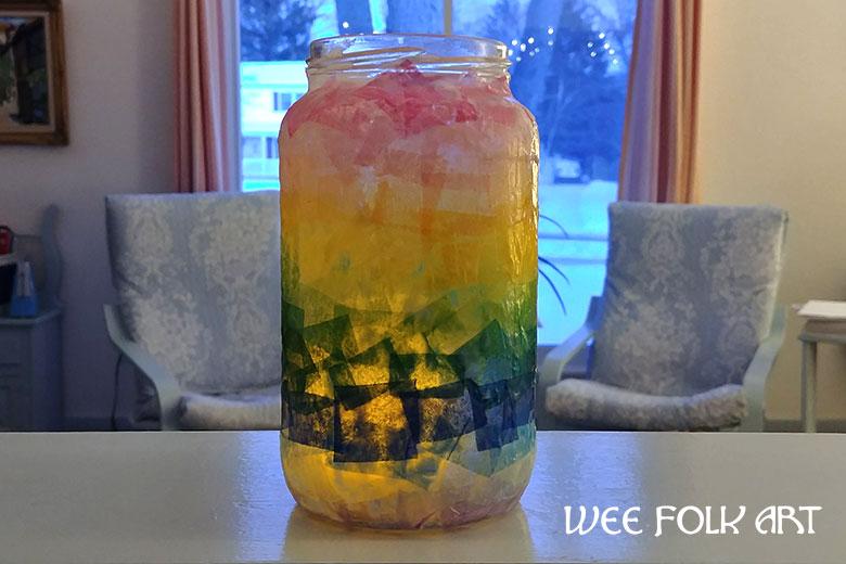 Ombre Rainbow Tissue Paper Lantern Project