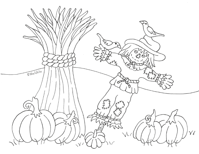 Pumpkin Patch Scarecrow Coloring Page