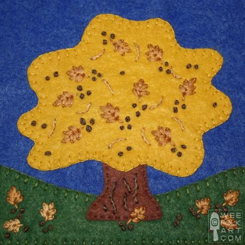 Autumn Oak Applique Block