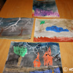 Stormy Night Oil Pastel and Watercolor Paintings