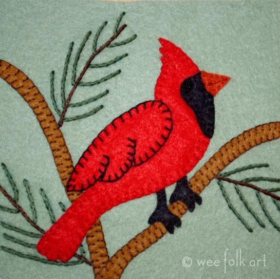 Cardinal Applique Block - Wee Folk Art