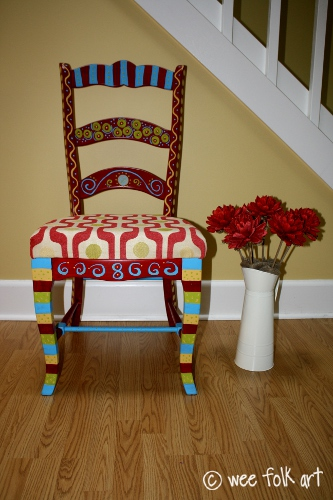 finished funky chair wee folk art