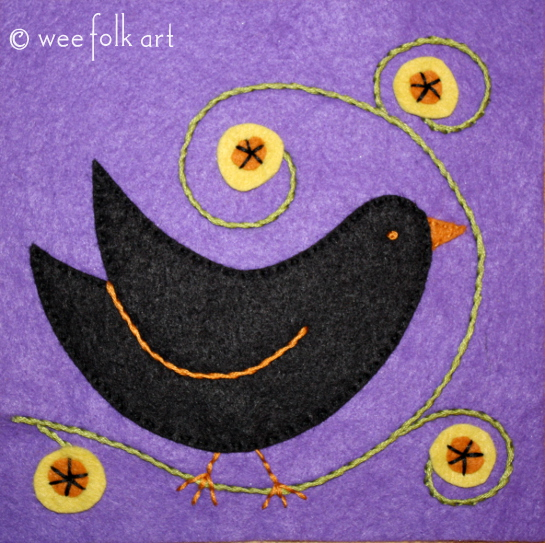 Black Bird Applique Block