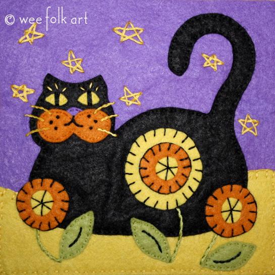 Black Cat Applique Block
