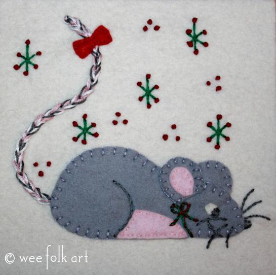 Little Mouse Applique Block Wee Folk Art