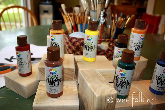 Give Thanks Wooden Blocks Thanksgiving Decor Wee Folk Art
