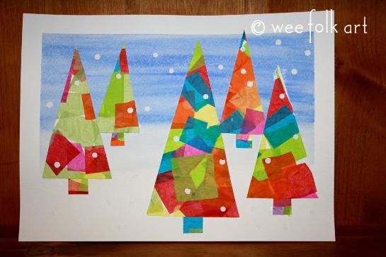 Winter Tissue Paper Trees