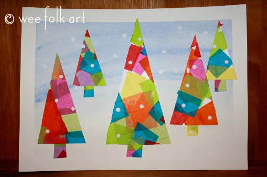 Winter Tissue Paper Trees