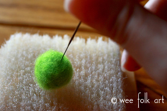 how to needle felt wool pom poms