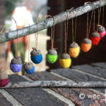 Wool Roving Needle Felted Acorns Ornament