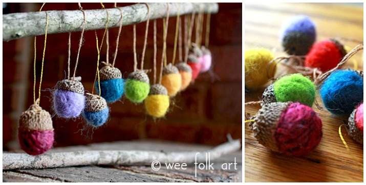 needle felted acorns ornament nature craft