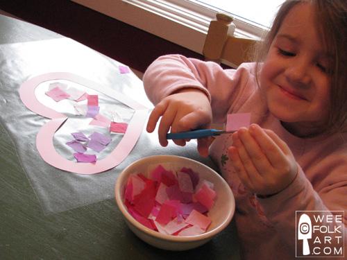 Valentine Craft Tissue Paper Stained Glass Heart kids
