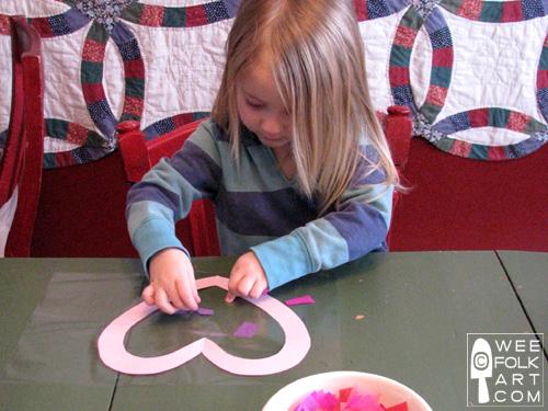 Valentine Craft Tissue Paper Stained Glass Heart kids2