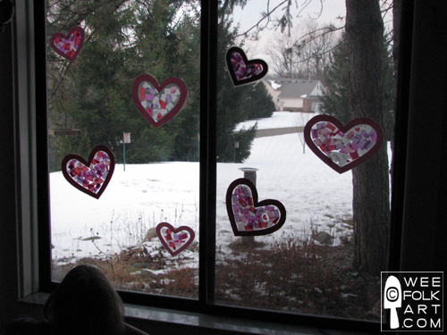 Valentine Craft Tissue Paper Stained Glass Heart decorated window