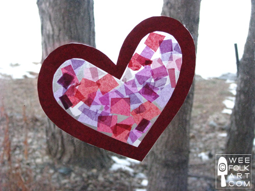 Valentine Craft Tissue Paper Stained Glass Heart Finished