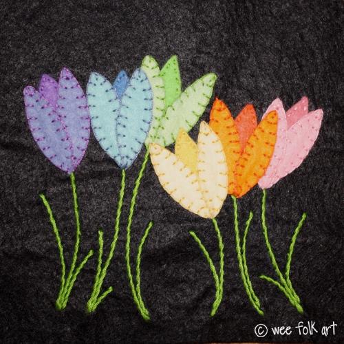 Rainbow Flowers Applique Block