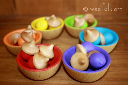 painted wooden acorns craft