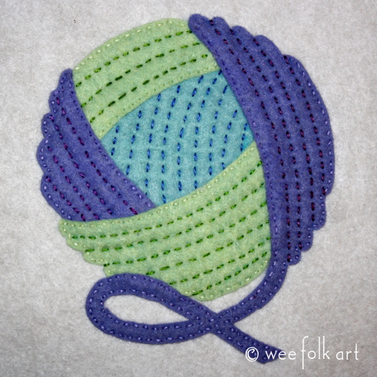 Ball of Yarn Applique Block