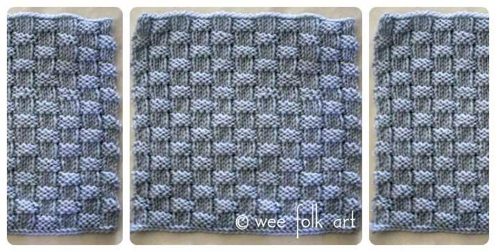 Learn To Knit Afghan Block Three Wee Folk Art