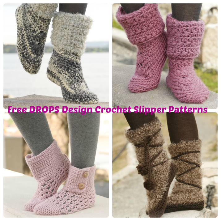 Drops Design Free Crochet Slipper Patterns Wee Folk Art