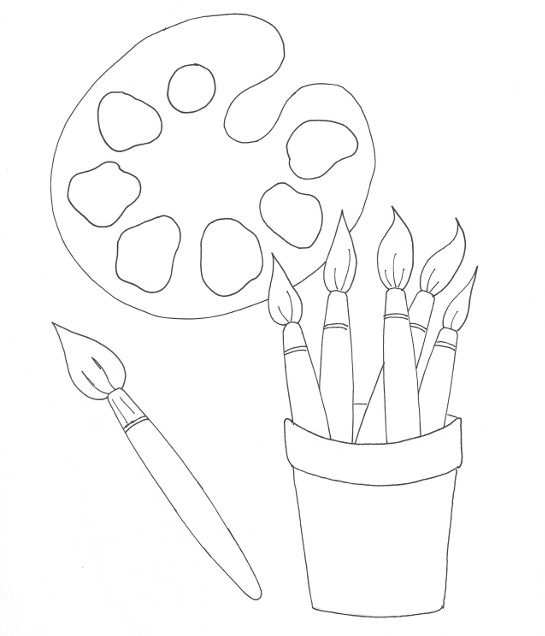 Painters Palette Coloring Page Wee Folk Art