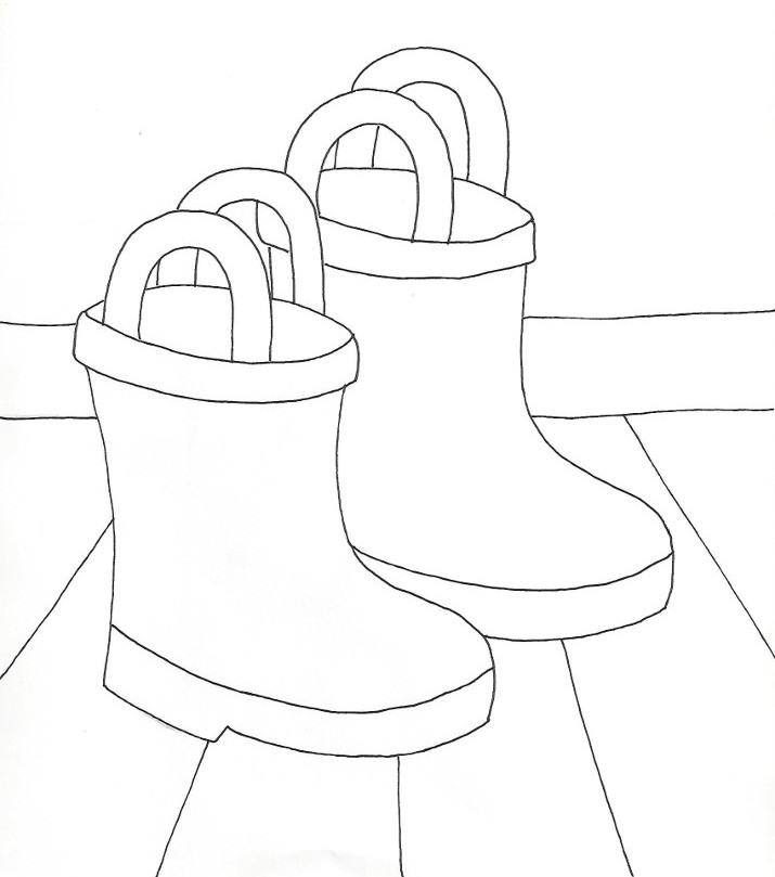 Rain Boots Coloring Page Wee Folk Art
