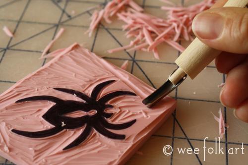 Stamp making wee folk art
