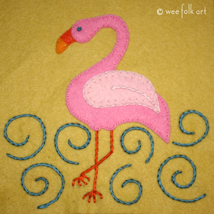 flamingo applique pattern