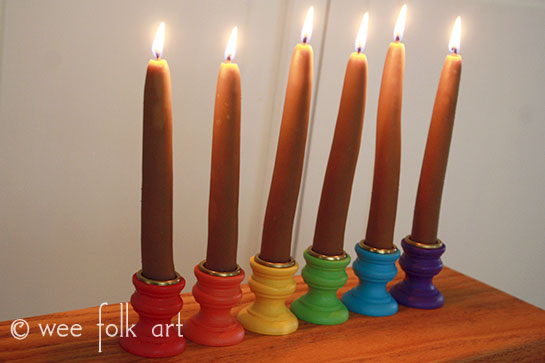 Rainbow Painted Wooden Candle Sticks