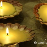 Homemade Beeswax Seashell Candles