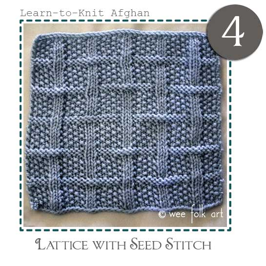 Learn-to-knit afghan block four lattice seed stitch