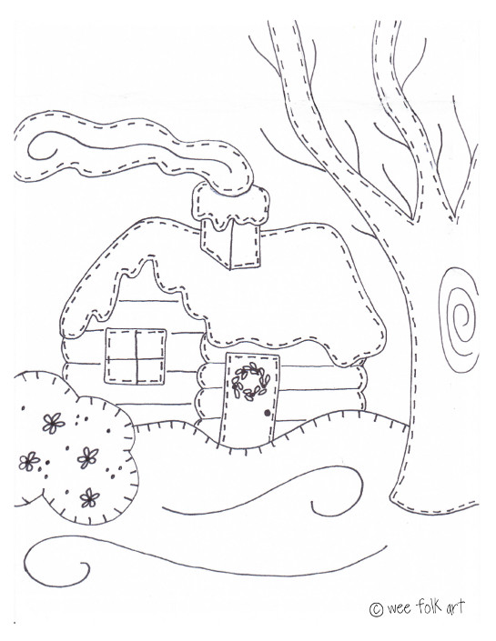 Heres Another Coloring Page For The Wee Ones Print Out Our Log Cabin On Regular Or Water Color Paper Instructions Can Be