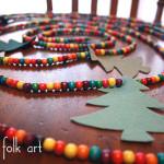 Simple Wooden Bead & Felt Christmas Garland