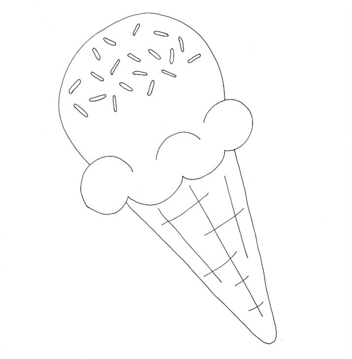 Ice Cream Cone Coloring Page - Wee Folk Art