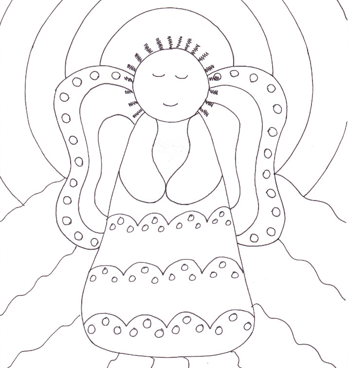 Primitive Angel Coloring Page