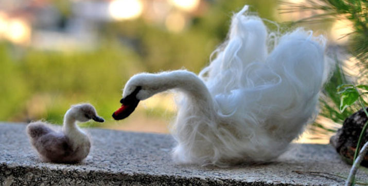 art of felting giveaway felted swan and ugly duckling