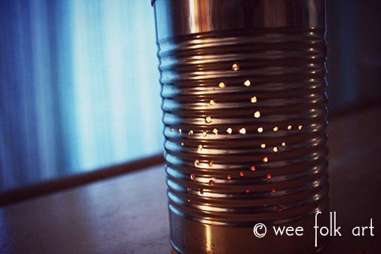 Tin Can Lantern Recycled Craft